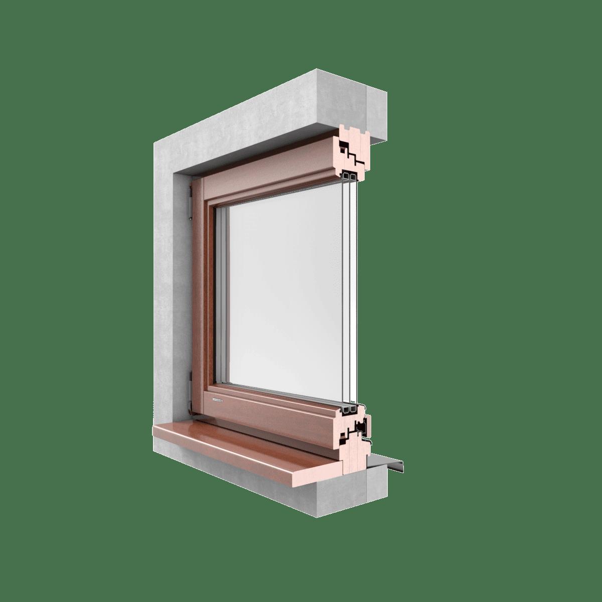 GALUX ALU Okna drewniane  CLASSIC przekrój