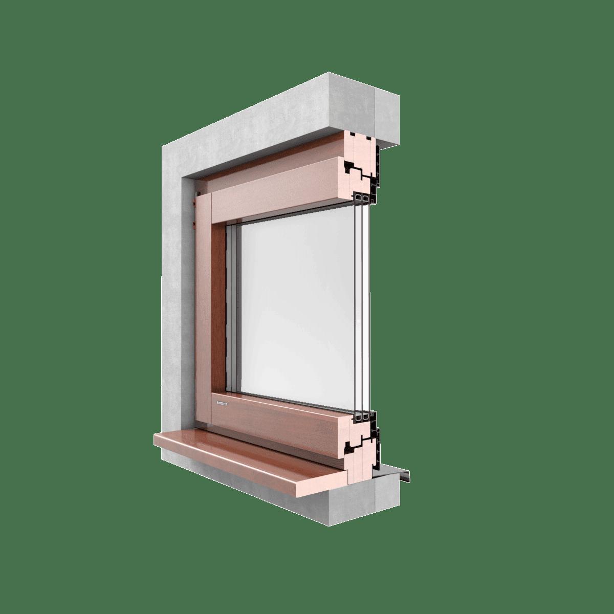 Okna drewniano-aluminiowe GALUX ALU  MODERN przekrój