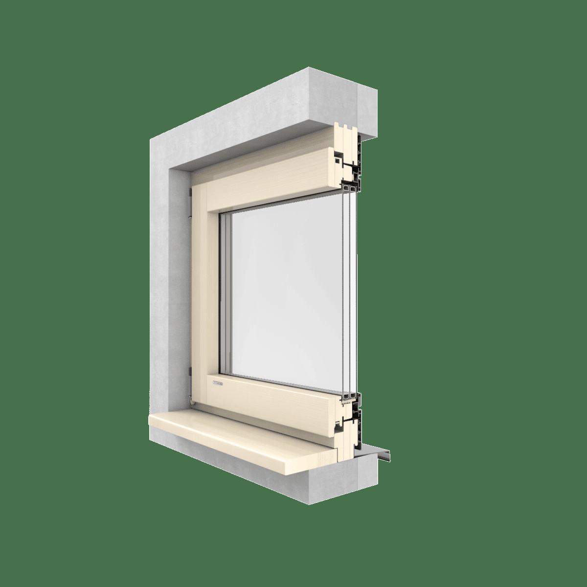 Okna drewniano-aluminiowe LEXO ALU  MODERN przekrój