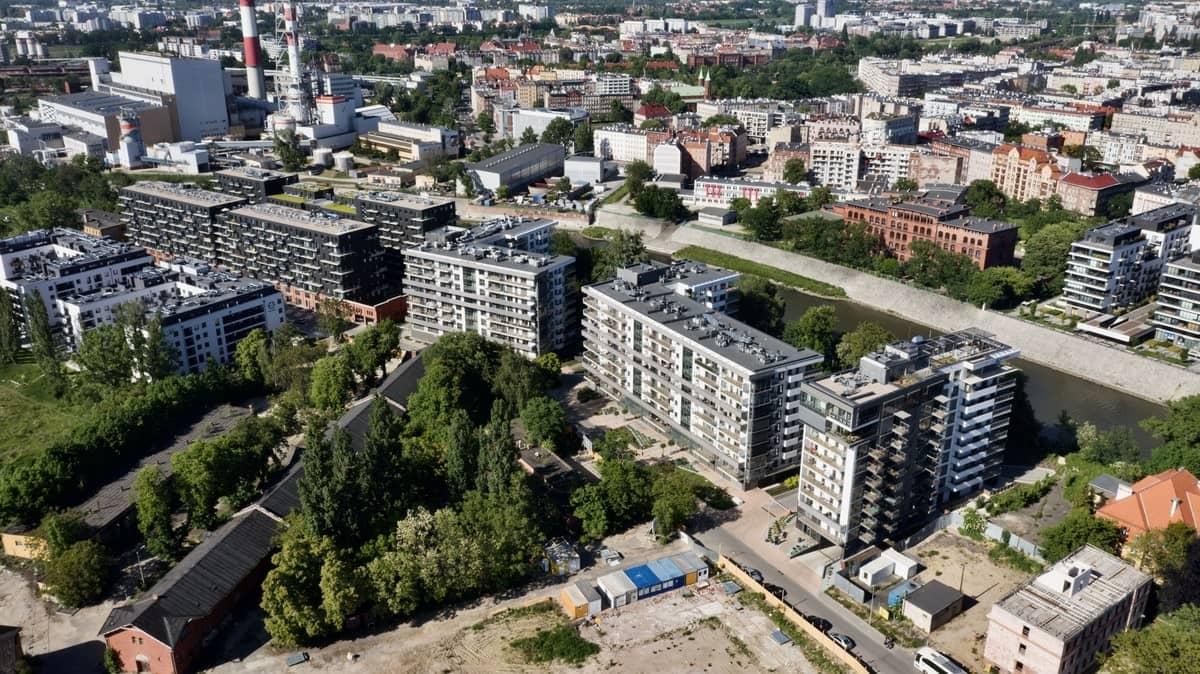 osiedle River Point Wrocław z lotu ptaka z daleka