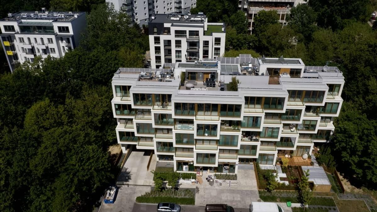Apartamenty Potocka z lotu ptaka z przodu