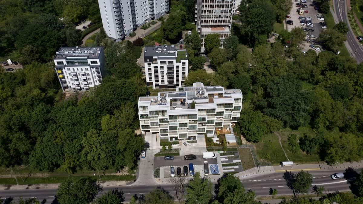 Apartamenty Potocka z lotu ptaka z daleka