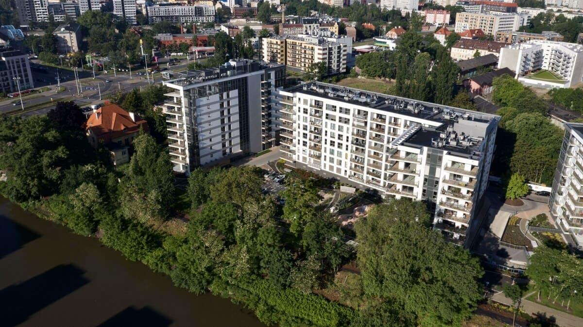 River Point Wrocław z lotu ptaka z boku